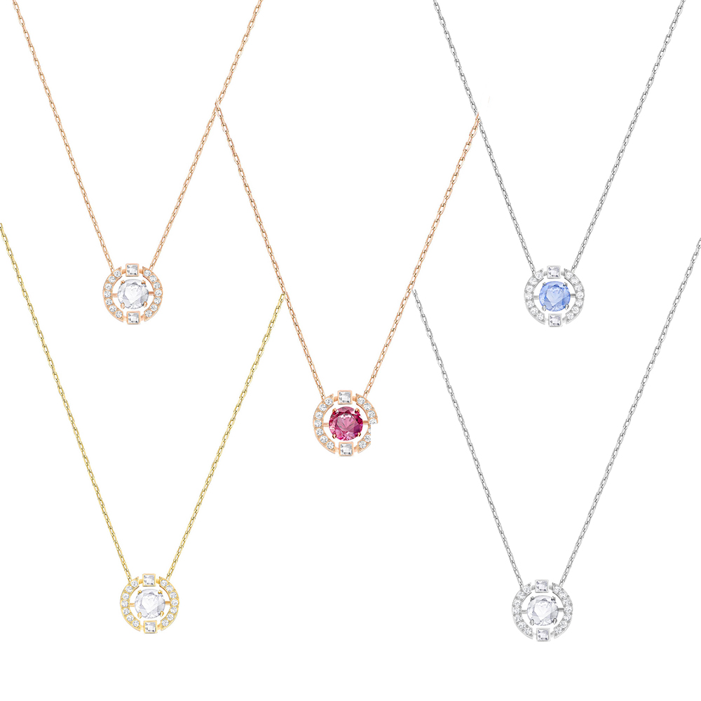 SWA New SPARKLING DANCE ROUND Necklace Shine Jumping Crystal Female Clavicle Necklace Sent Wife Lover Jewelry Romantic Gift