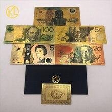 5 adet/grup avustralya 100 dolar altın banknot kaplama renkli AUD 100 50 20 10 5 doları altın folyo banknot para birimi toplama