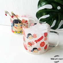 W&G Simple and lovely milk smiling sister glass cartoon cup breakfast cup girl heart strawberry drink cup heatproof cup