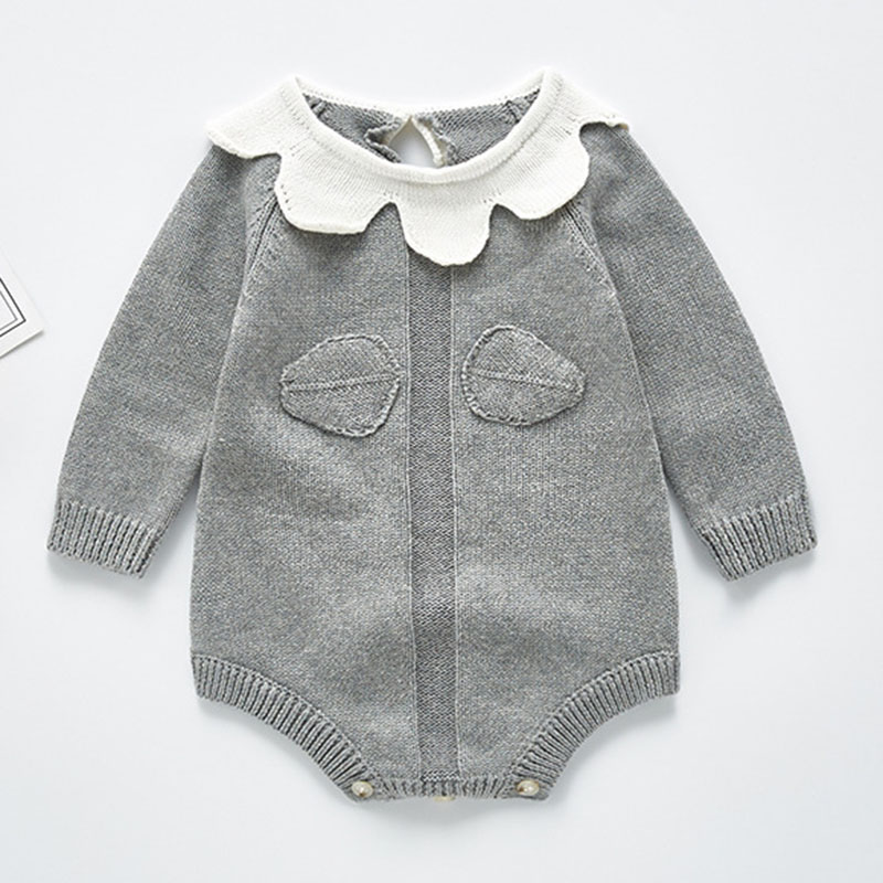 Knitted Baby Clothes Autumn Winter Newborn Bodysuit Long Sleeve Cotton Infant Baby Girl Jumpsuit Infant Boys Bodysuit Sweater 6