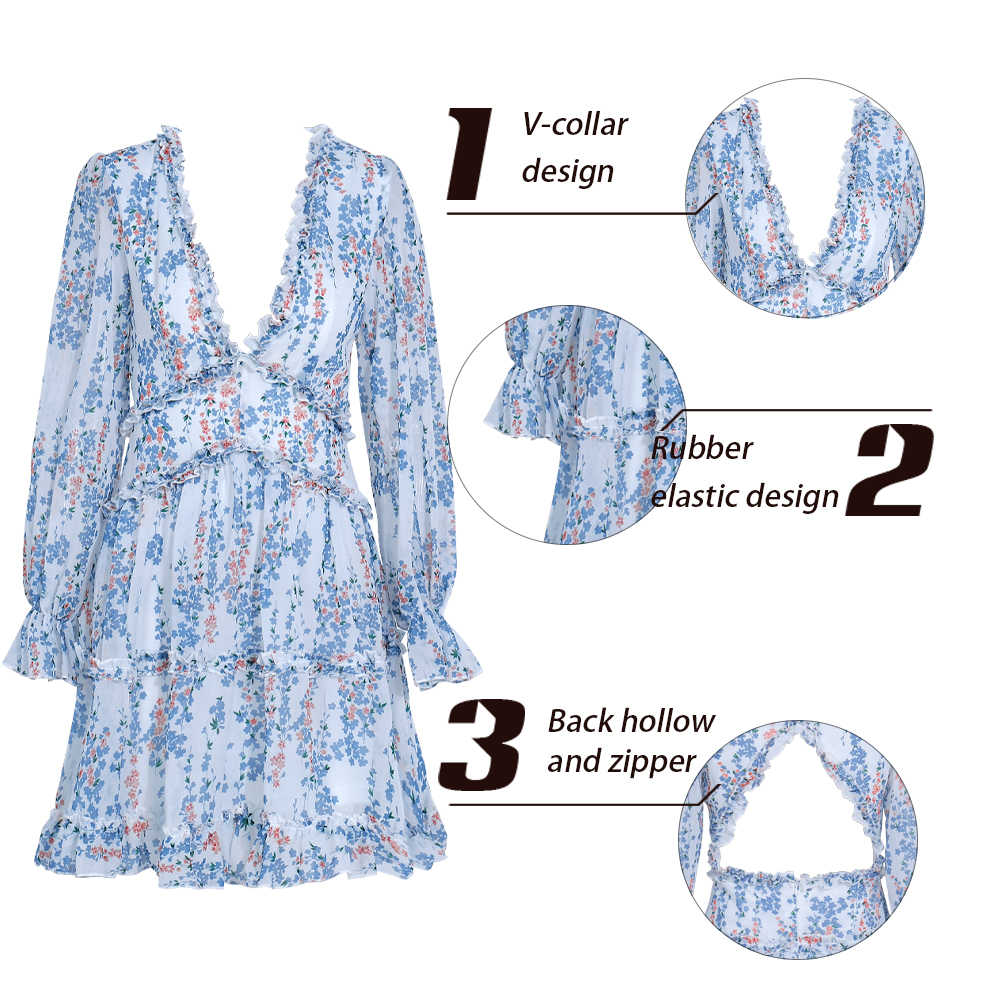 Yesexy 2019 летнее Сексуальное Женское Платье в стиле бохо с глубоким v-образным вырезом, с цветочным принтом, для отдыха, с открытой спиной, трапециевидной формы, с оборками, с длинным рукавом, Повседневное платье VR0011
