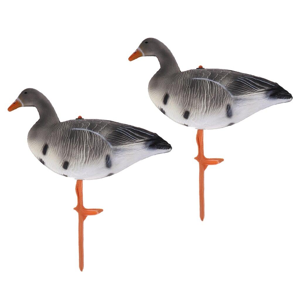 2Pcs Portable 3D Lifelike Resting Full Body Goose Hunting Decoy Goose Decoys Yard Garden Decors Lawn Ornament Greenhand Gear