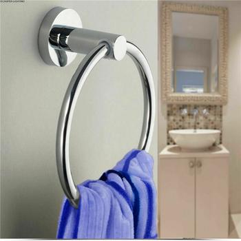 Samoprzylepne pierścienie ręcznikowe ze stali nierdzewnej okrągłe ręczniki łazienkowe uchwyt ścienny wieszaki na ręczniki do kuchni pokój kąpielowy tanie i dobre opinie CN (pochodzenie) STAINLESS STEEL NONE Silver 1 X Towel Ring