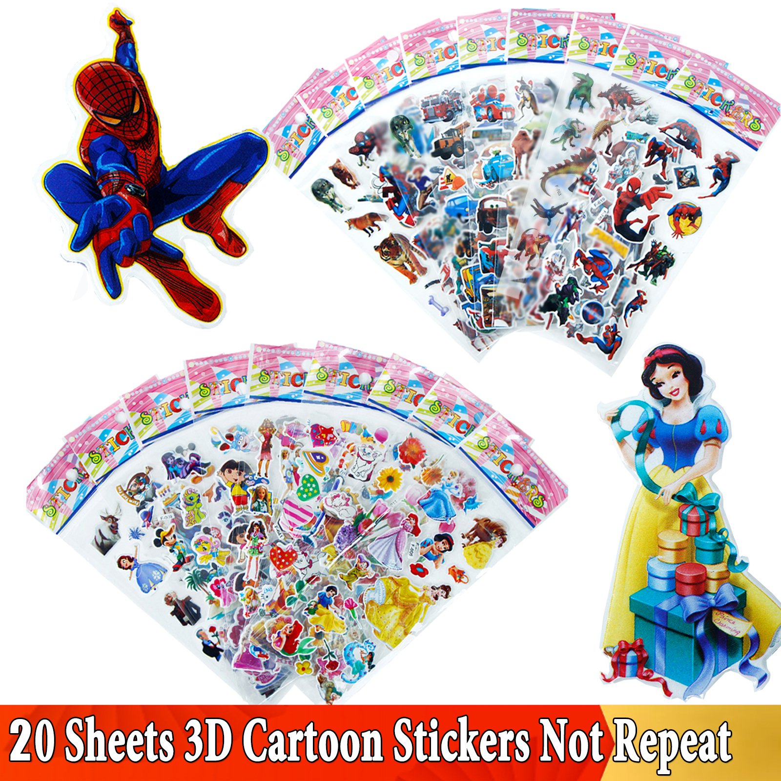 20 Different Sheets 3D Puffy Bulk Stickers For Girl Boy Princess Birthday Gift Scrapbooking Teachers Animals Cartoon Sticker