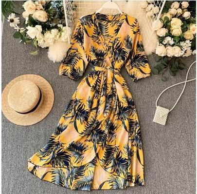 women/'s fashion temperament high waist printing Ball Gown Dress Floral Printed