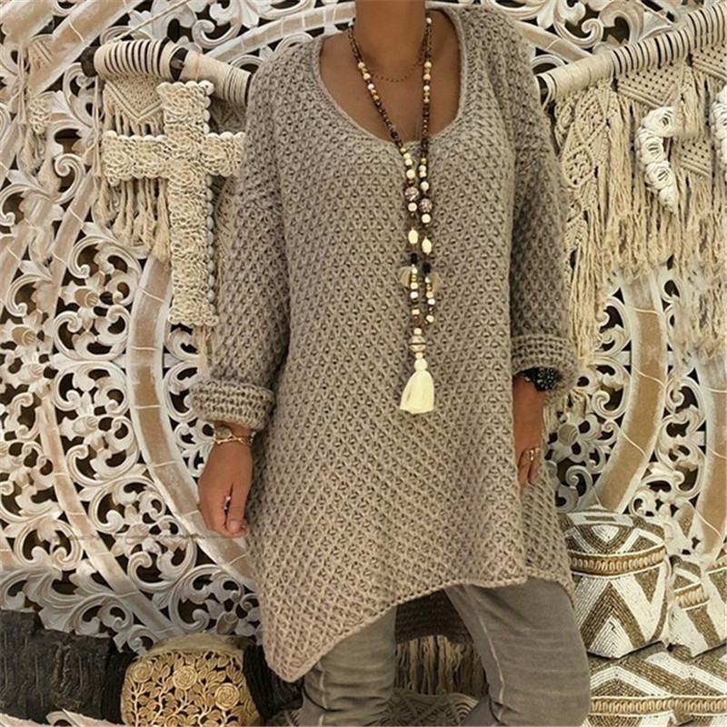 Womens Tops Sweater Winter Long Sleeve Casual Fashion Jumper Round Neck Tunic Coat