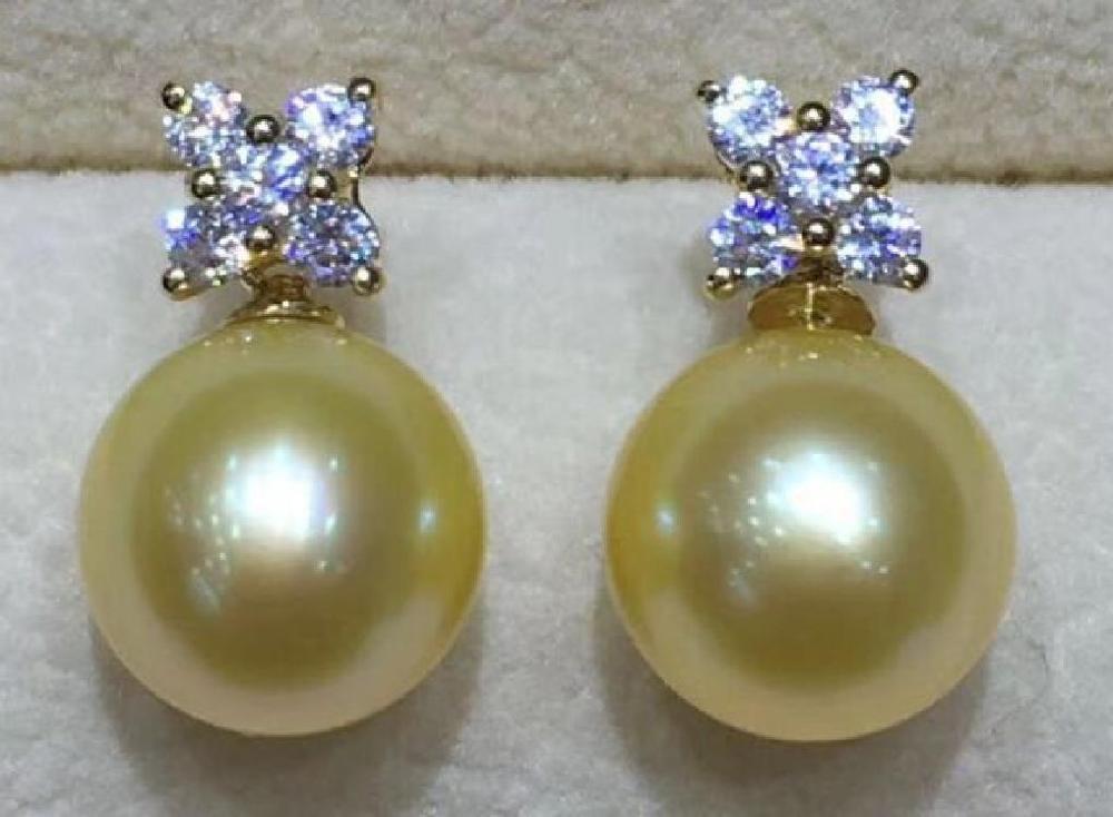Boucles d'oreilles rondes AAA 10-11mm en or naturel de la mer du sud, or jaune 14 K