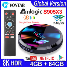H96 Max X3 Smart Android TV BOX Android 9.0 Smart Box 8K Amlogic S905X3 4GB 128G/64G/32G ROM 2.4G&5G Wifi 1000M 4k Media Player