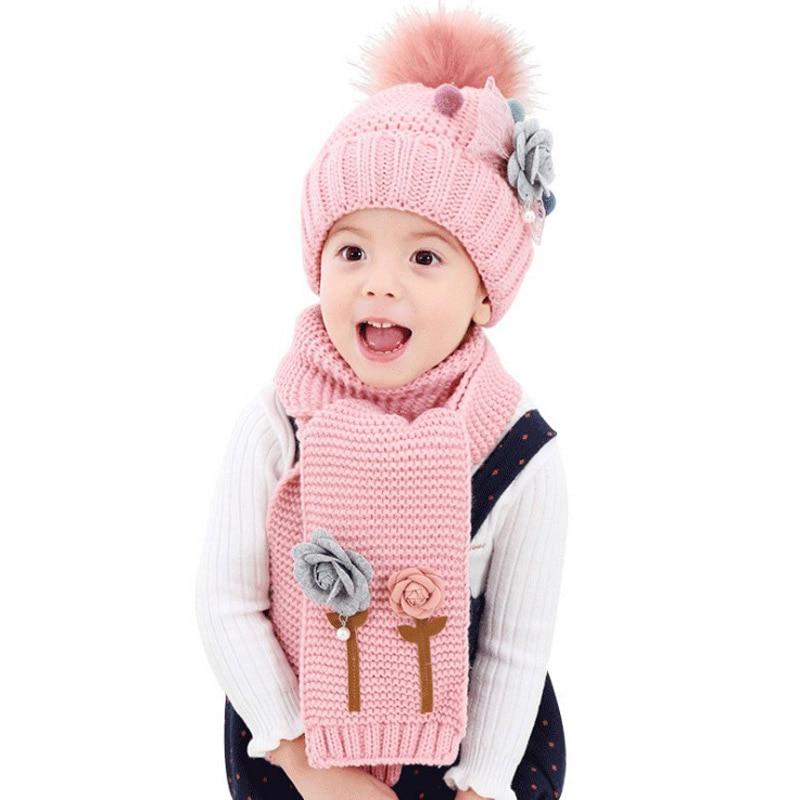 Children's Cute Flower Scarf Hat Set Girls Soft Thickened Pom Pom Beanie Scarf Set Kids Winter Scarf Hat Kit 2pcs