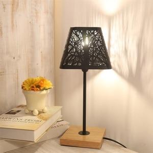 Image 5 - OYGROUP Moderne Kleine Nacht Lampe mit Holz Basis Schwarz Metall Stick und Hohl Lampenschirm E14 Tisch Lampe Raum Dekoration KEINE BIRNE