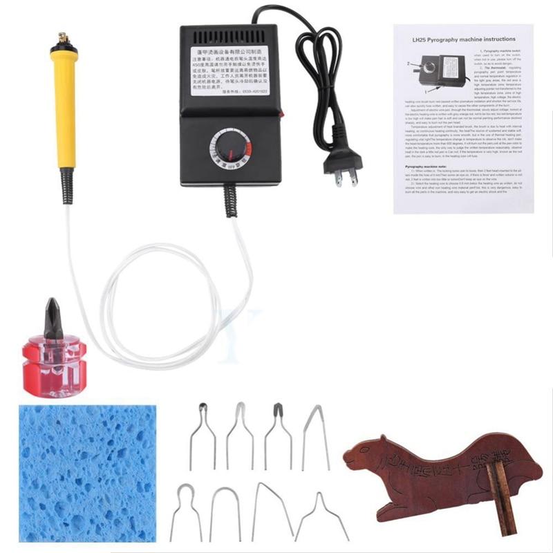 25W Pyrography Pen Machine Kit Set Wood Burning Crafts Tools Tip Holder Wood Leather Us Plug