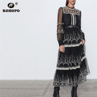 ROHOPO Long Sleeve Round Collar Black Mesh Midi Dress Embroidery Lace Elegant 2 Pieces Maxi Party Sheer Tulle Vestido #9487