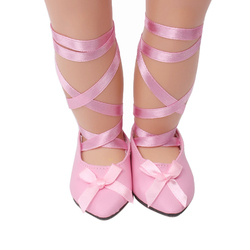 18 дюймов, с круглым вырезом, для девочек; Модная женская обувь с острым носком; Розовые балетки американская платье для новорожденных; Детск...