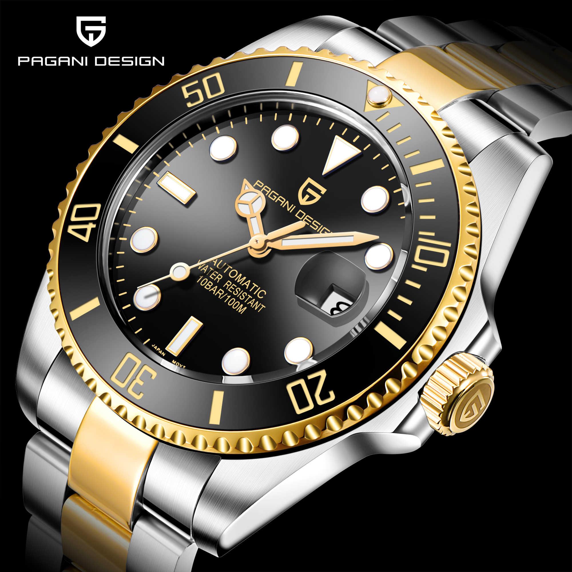 パガーニデザインブランドの高級メンズ腕時計自動ブラック腕時計メンズステンレス鋼防水ビジネススポーツ機械式腕時計