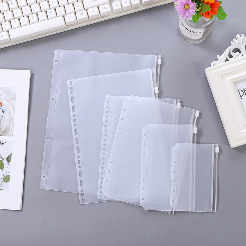10Pcs A4A5A6A7B5 Loose Leaf Notebook PVC Collection Bags DIY Diary Accessory Office Zip Case Storage Bag Pouch