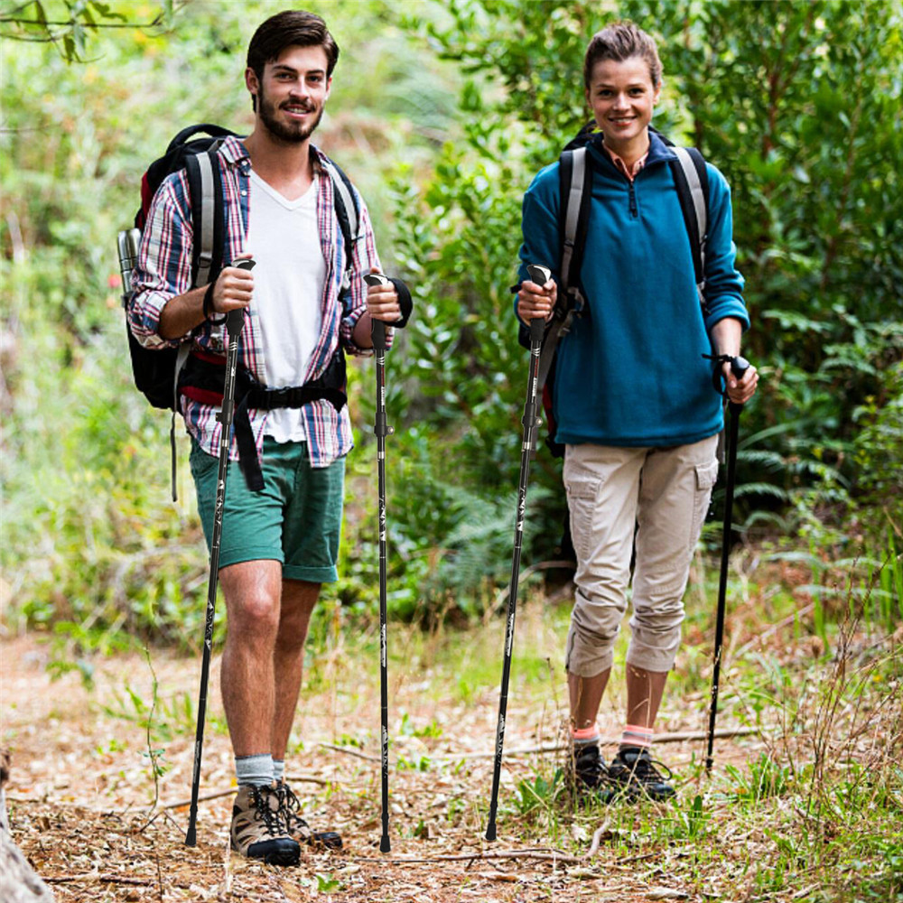 2 шт. Регулируемый складной пеший туризм ходьба шест открытый телескопический треккинг палка антишок костыль