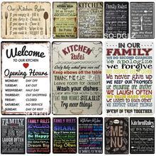[SQ-DGLZ] nuevo menú signo de estaño reglas de cocina decoración de pared reglas familiares manualidades de Metal pintura placas reglas de baño cartel de arte