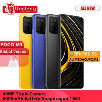 Купить Смартфон глобальная версия POCO M3, Snapdragon 662, 4 Гб ОЗУ 64/128 ГБ, дисплей 6,53 дюйма, тройная камера 48 МП, Аккумулятор 6000 мАч, двойные динамики