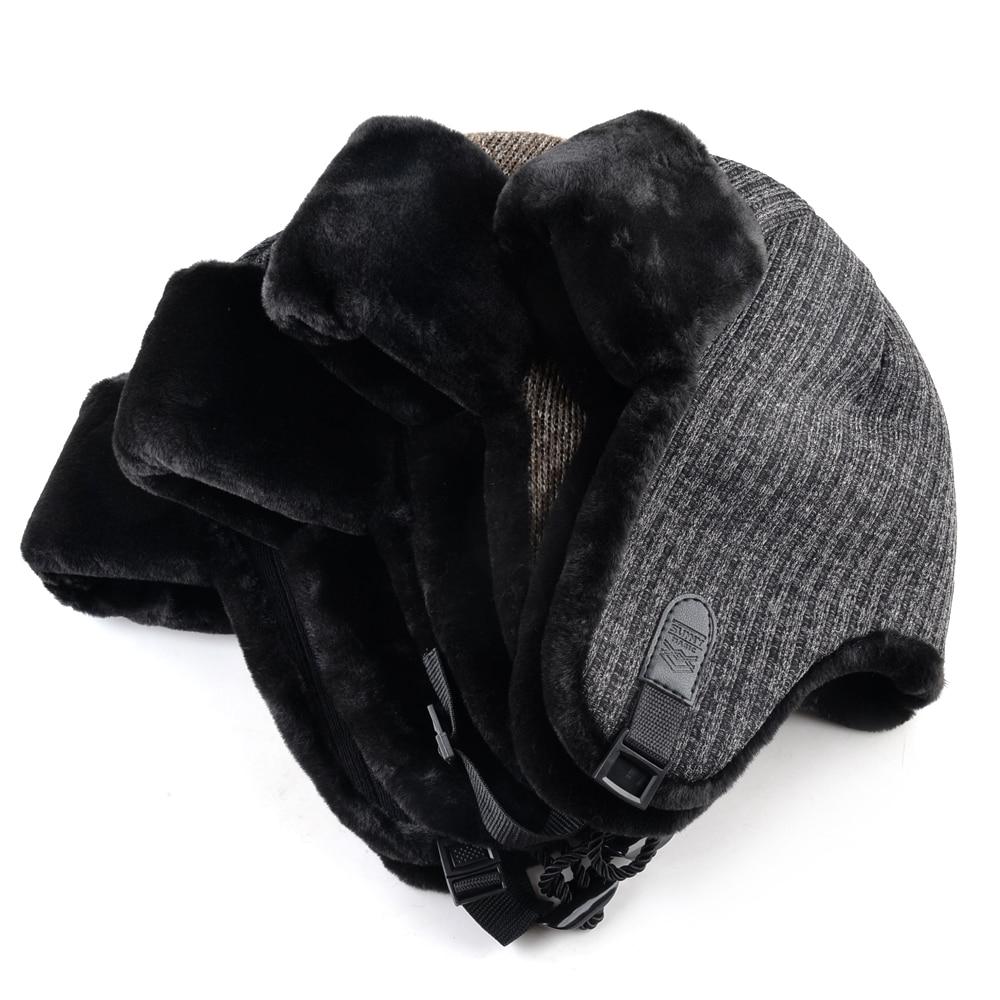 Chapeau de bombardier tricoté pour hommes