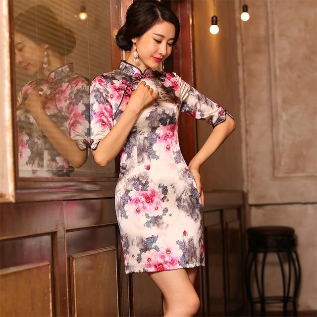 2019 Sale Vestido De Debutante New Silk Cheongsam Skirt Slim Stand Collar Middle Sleeve Diagonal Fashion Elegant Temperament