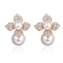 New flower pearl earrings women zircon jewelry ear accessories European and American girls fashion Bride married gift