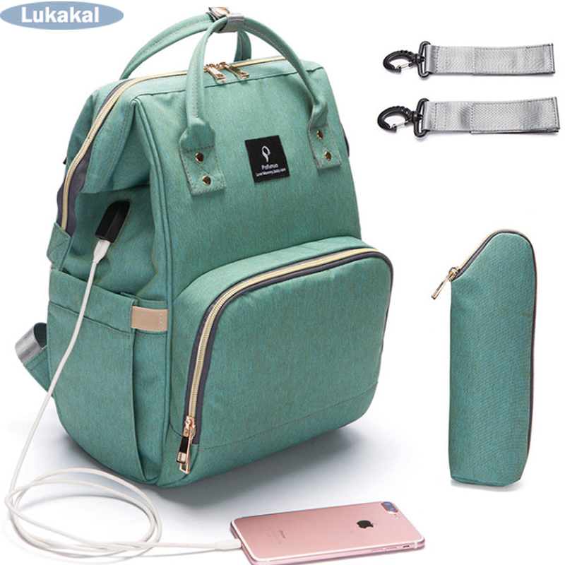 Baby Diaper Bag  Backpack USB Interface Large Capacity WaterProof Maternity Carry Bolsa Luiertas Bag For Baby Care
