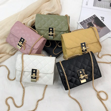 Women's 2020 Summer New Style Korean-style Fashion Rhombus Chain Lock Square Sling Bag Shoulder Graceful Over-the-shoulder