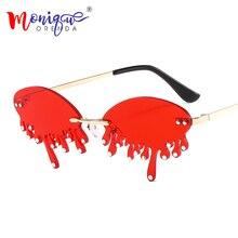 Punk Rimless Sunglasses Women Luxury Diamond Rhinestones Eyeglasses Female Uniqu
