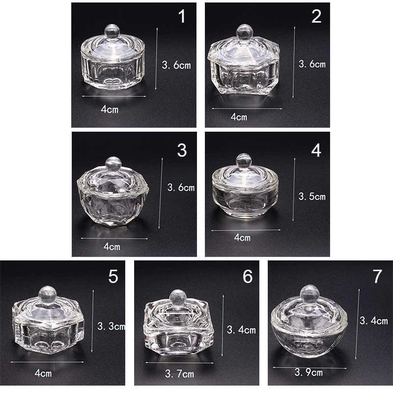 1PC proszek akrylowy Dappen danie pokrywka miska kryształowy uchwyt sprzęt narzędzie do paznokci na narzędzia do paznokci
