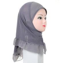 Muçulmano crianças meninas hijab islâmico árabe escola headwear algodão lenço cabeça envoltórios médio oriente strass ramadan boné