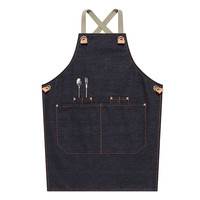 Gray Black Blue Kids Denim Apron Cotton Straps School Painting Craft DIY Class Drawing Family Party Baking Cooking Clothes E41