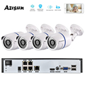 AZISHN 4CH H.265 + 1080P 48V POE 2MP NVR CCTV Камера Системы Открытый безопасности 1080P IP Камера P2P видеонаблюдение Системы NVR Kit