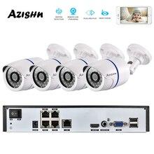 AZISHN sistema de cámara CCTV NVR para exteriores, 4CH H.265 + 1080P 48V POE 2MP, cámara IP de seguridad 1080P, sistema de videovigilancia P2P, Kit NVR