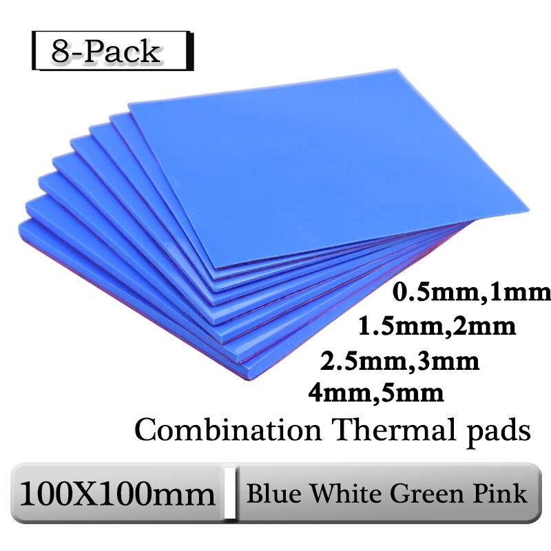 8 шт. Gdstime 100x100x0,5 мм 1 мм 1,5 мм 2 мм 2,5 мм, 3 мм, 4 мм, 5 мм, сине-белые зеленый Комбинации Термальность колодки охлаждения Проводящий силиконовый чех...