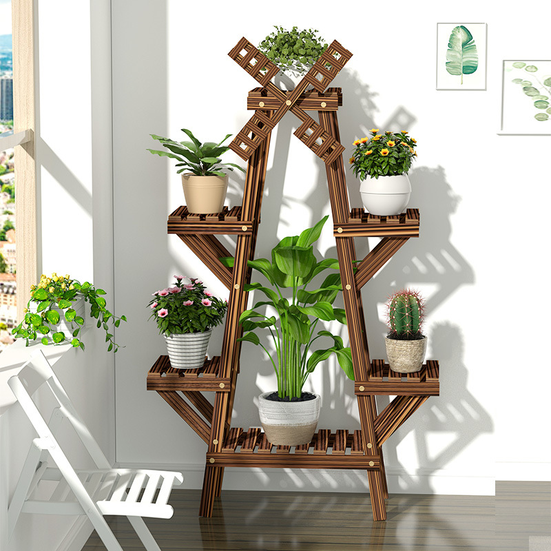 Vintage Wood Plant Stand Balcony Flower Pot Ladder Shelf Outdoor Garden Stand Planter Indoor Plants Pots Home Storage Rack Decor