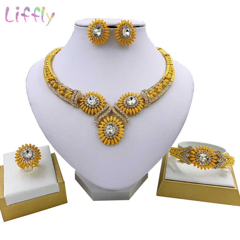 African Jewelry Exquisite Sun Flower Embellished Crystal Necklace Earrings Ring Bracelet Charm Woman Indian Jewelry