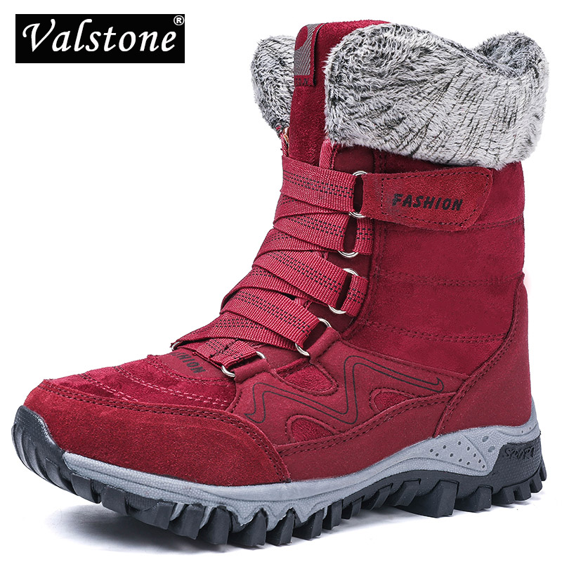 Women Winter Snow Boots Faux Fur Suede Mid Calf Warm Anti Skid Outdoor Shoes
