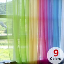 Window-Curtain Valances-Room Drape-Panel Voile Sheer Tulle Modern Door Scarf for 1pc
