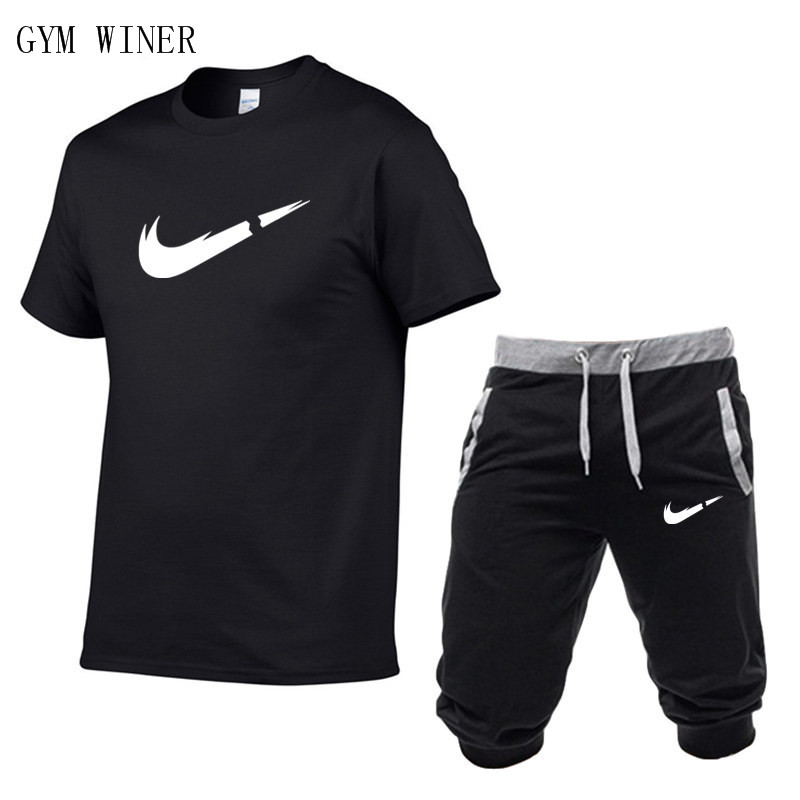 Summer New Tracksuit Men Shorts Casual Men's Sportswear Suit Shorts Brand Clothing Two Pieces Top Tee+Shorts Sweat Suits 2019-in Men's Sets from Men's Clothing