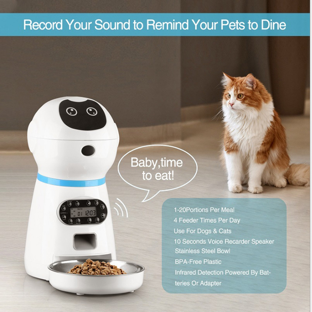 4L Smart Pet Timer Feeder/Dispenser With Voice Recorder Setting For Dogs And Cats 6