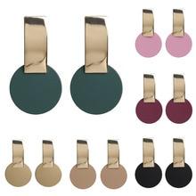 Simple Metal Geometric Korean Earrings 2020 Women Temperament Fashion Round Dorp Earrings Trendy Jewelry