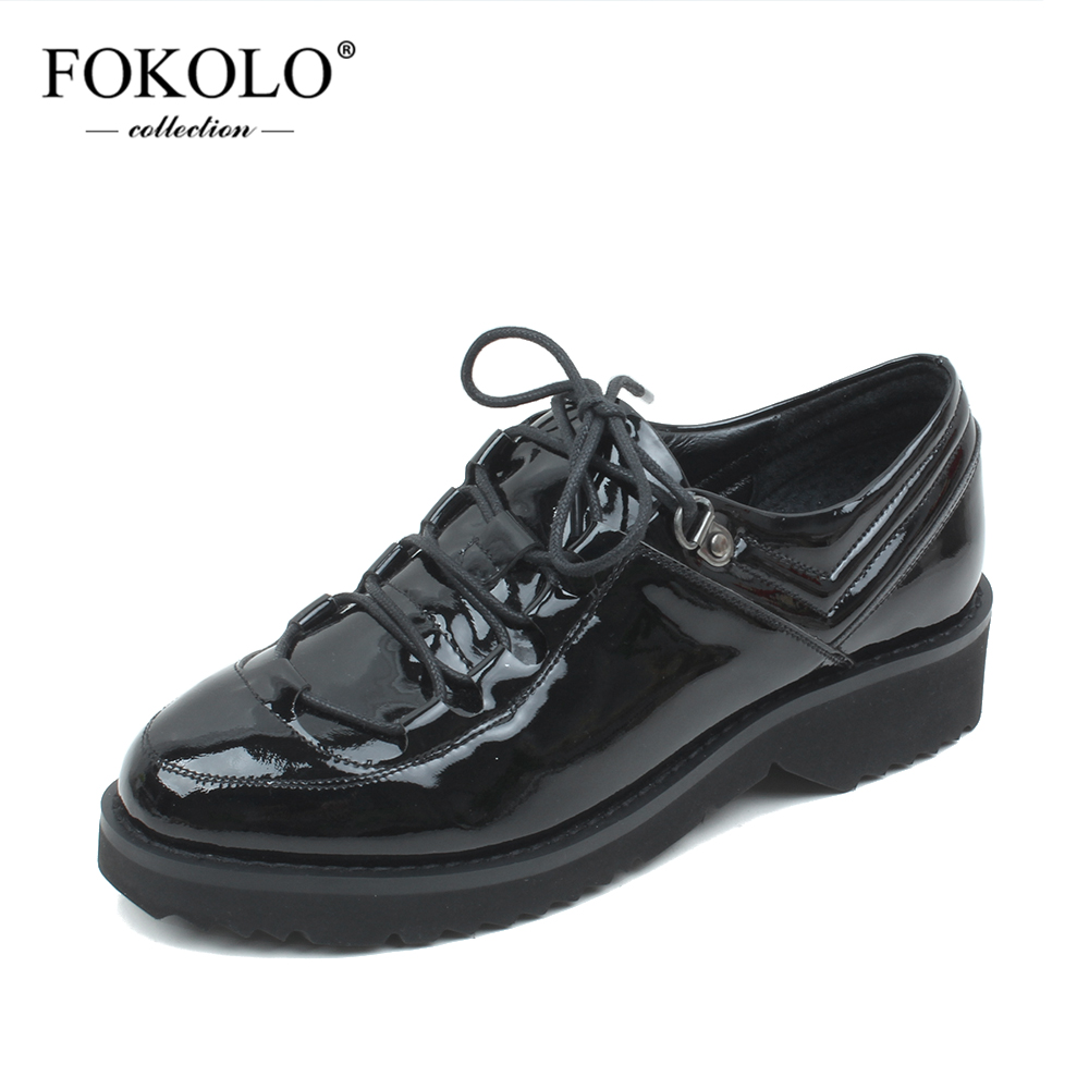 FOKOLO New Spring and Autumn Casual Shoes for Women Patent Leather Round Toe Lace-Up Platform Flats Black Classic Lady Shoes P6