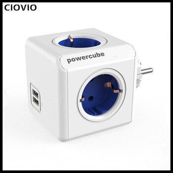 цена на Allocacoc USB Socket Power Strip EU KR Plug Adapter PowerCube 4 Smart Plug Outlets Electrical 250V 3680W Extension home Office