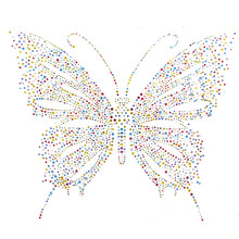 1pc New Embellishment Colorful Transfer Butterfly Design Rhinestone Motif Hotfix Iron on Patches For Sweater Shoes(China)