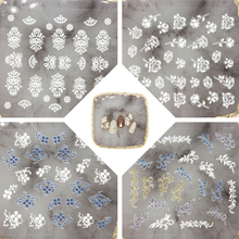 Flower Series Butterfly 5D Self Adhesive Embossed Nail Stickers Acrylic Engraved Water Decals DIY Summer Decor 1 Sheet