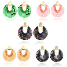 Acrylic Earrings Big Round Earrings for Women Resin Geometric Drop Dangle Earrings Bohemian Jewelry