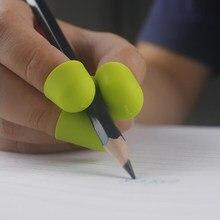Três-dedo crianças escrevendo titular do lápis de silicone anti-deslizamento segurando caneta suportes de aprendizagem aperto prática caneta titular corrector