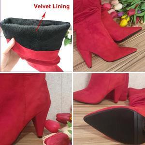 Image 5 - Meotina חורף הברך גבוהה מגפי נשים קפלים ספייק עקבים ארוך מגפי מחודדת הבוהן סופר גבוהה העקב נעלי גבירותיי סתיו אדום גודל 34 43