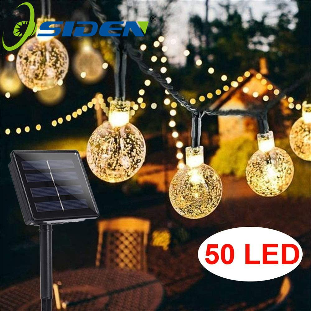 Holiday Light Led Solar 20 50 LEDS Crystal ball 5M 7M LED String Fairy Lights Solar Garlands Garden Christmas Decor For Outdoor