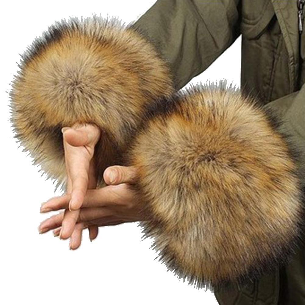 1 Pair Women's Elegant Parkas Fur Wrist Gloves Sleeve Cuff Cover Faux Rabbit Fur Oversleeve Cuff Winter Warm Wristbands